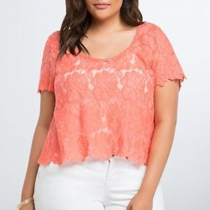 Torrid Coral Embroidered Lace Crop Top